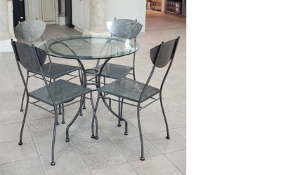 Powder Coated Dinec – Round Table & 4 Chairs